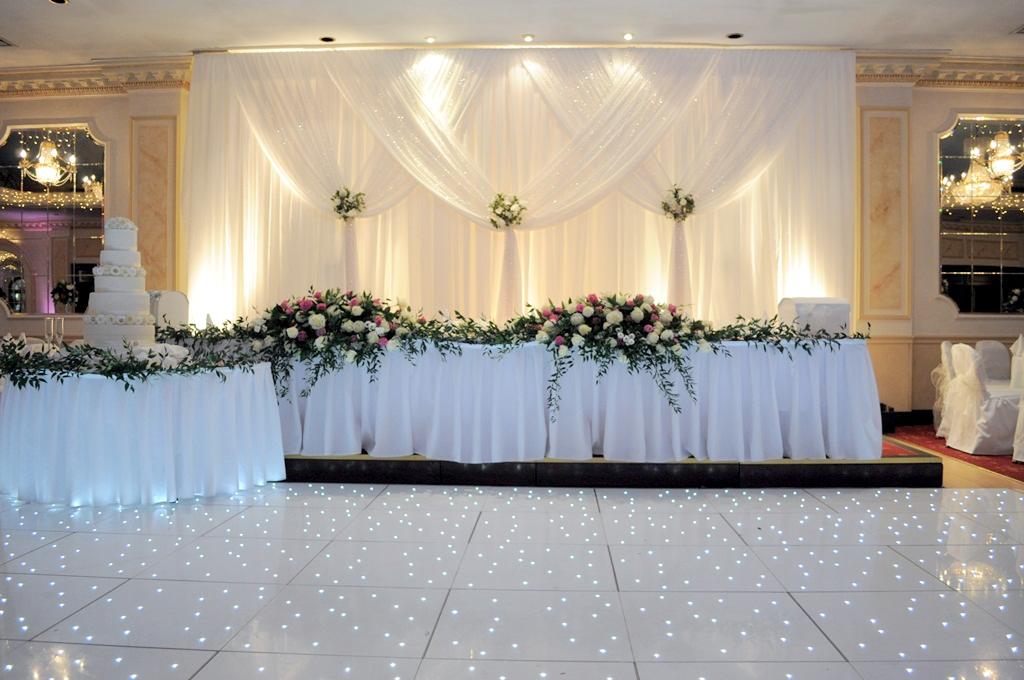 Uplit grecian back drop & Top table backdrop for wedding reception in Hertfordshire | Wedding ...