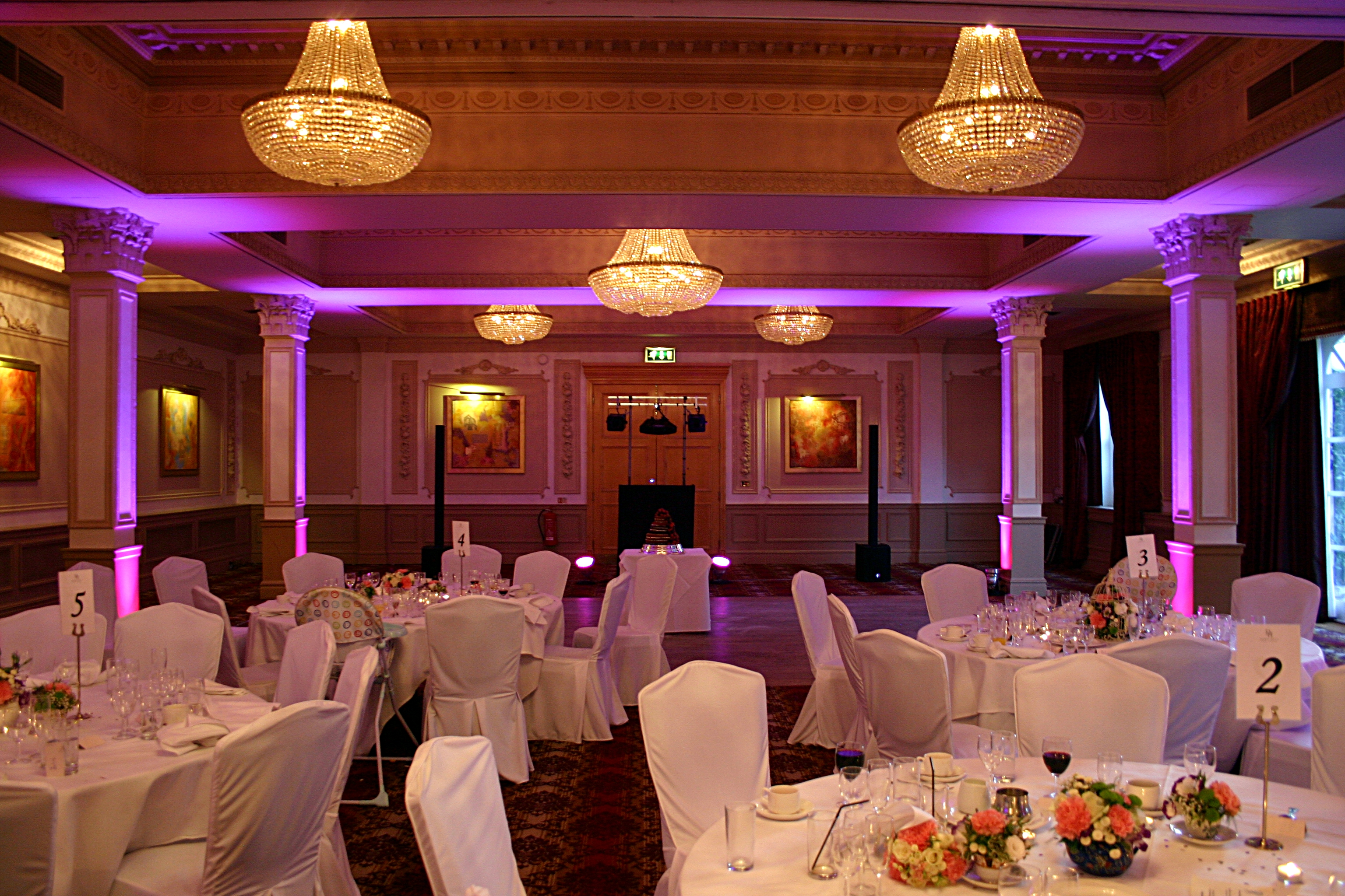 Uplighting And Wedding DJ Set Up At Down Hall Country House Hotel