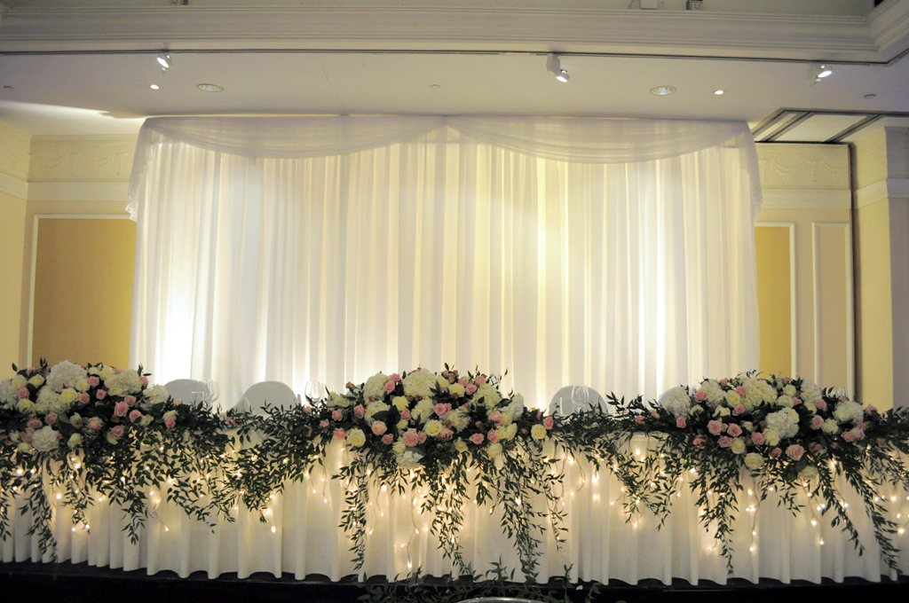Top table backdrop for wedding reception in hertfordshire for Wedding backdrops